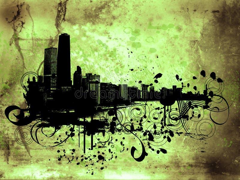 Grunge buildings stock illustration