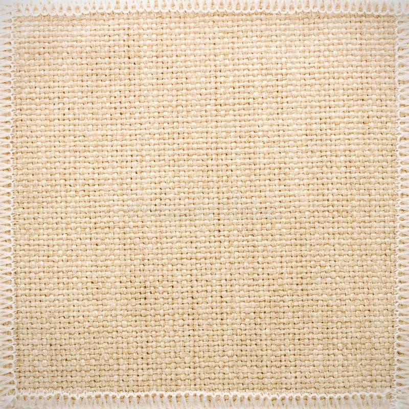 Grunge burlap tekstury tło Szorstki tkanina materiał Szczegół płótna i szwu rama obrazy stock