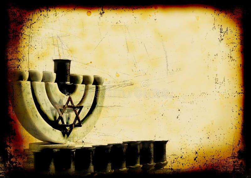 Grunge burned background with old Hanukiah royalty free stock image