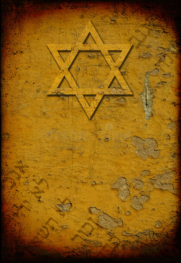 Grunge burned jewish background with david star stock illustration