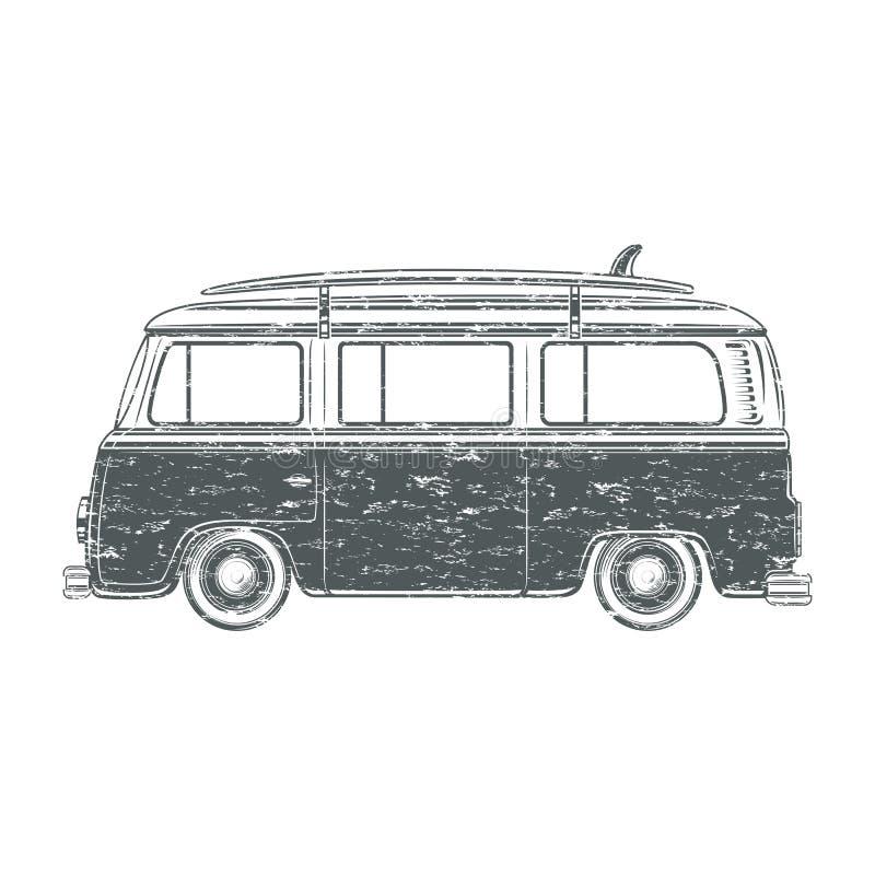Grunge camper van. Grunge retro vintage travel camper van with surf board isolated on white background. Vector illustration stock illustration
