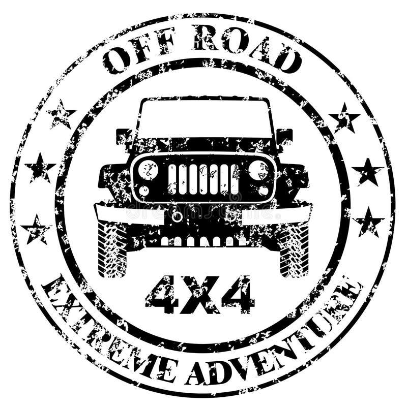 Grunge campo a través del sello del coche libre illustration