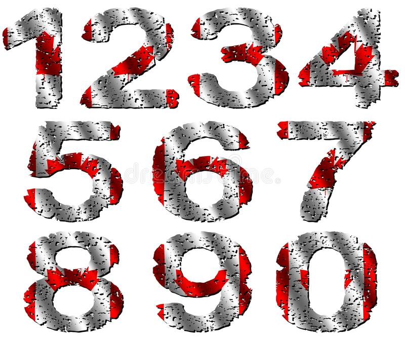 Download Grunge Canadian Flag Numbers Stock Illustration - Image: 19457750