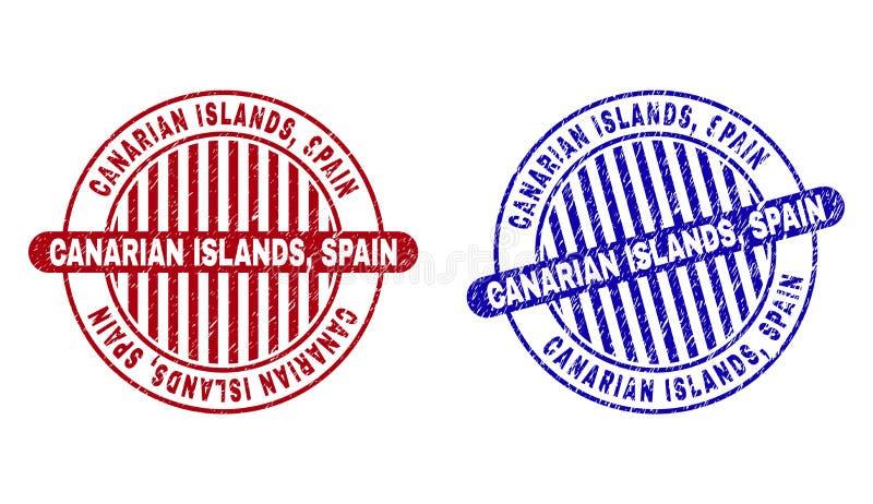 Grunge CANARIAN ISLANDS, SPAIN Textured Round Stamps vector illustration