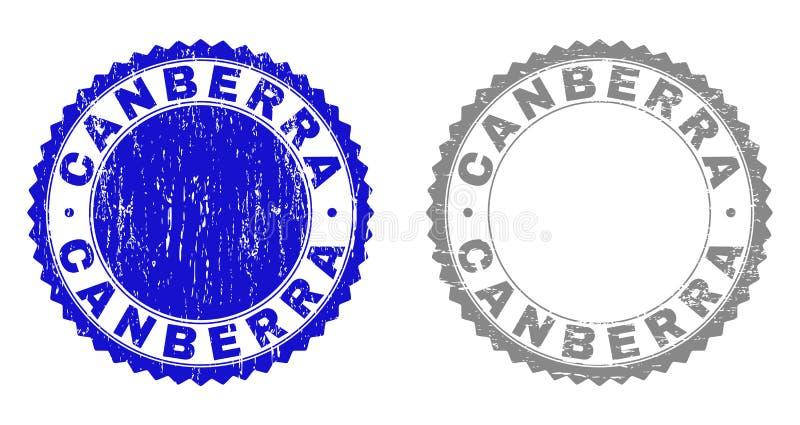 Grunge CANBERRA skrapade stämpelskyddsremsor royaltyfri illustrationer