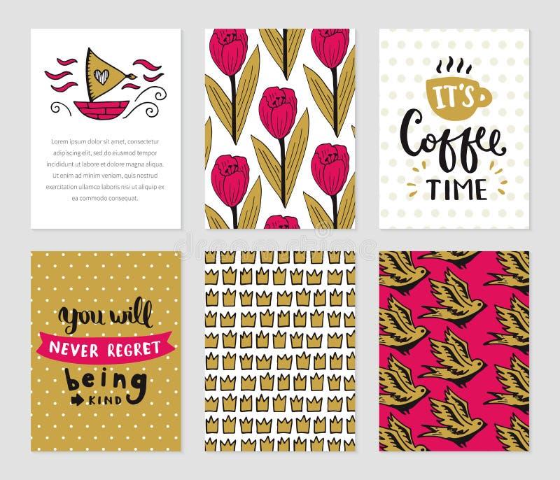 Grunge cards samlingen royaltyfri illustrationer