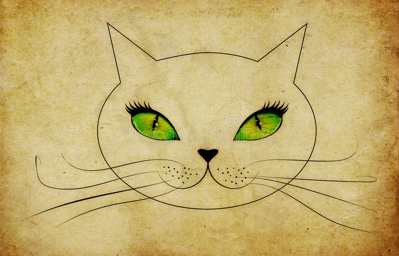Grunge cat face with green eyes vector illustration