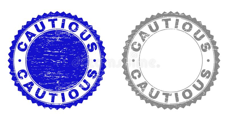 Grunge CAUTIOUS Textured Watermarks. Grunge CAUTIOUS stamp seals isolated on a white background. Rosette seals with grunge texture in blue and gray colors stock illustration