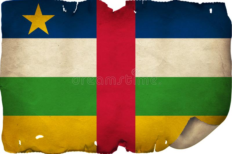 Central African Republic Flag On Old Paper. A grunge Central African Republic flag on old torn paper royalty free stock image