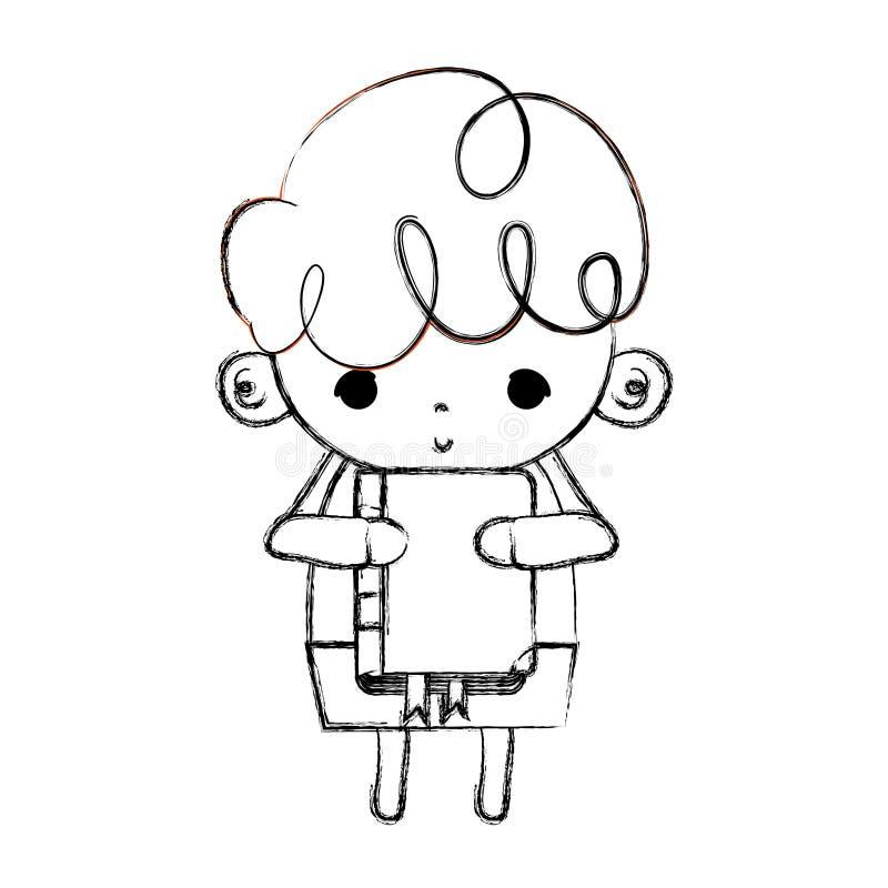 Grunge chłopiec ładny dziecko z edukacji książką ilustracji