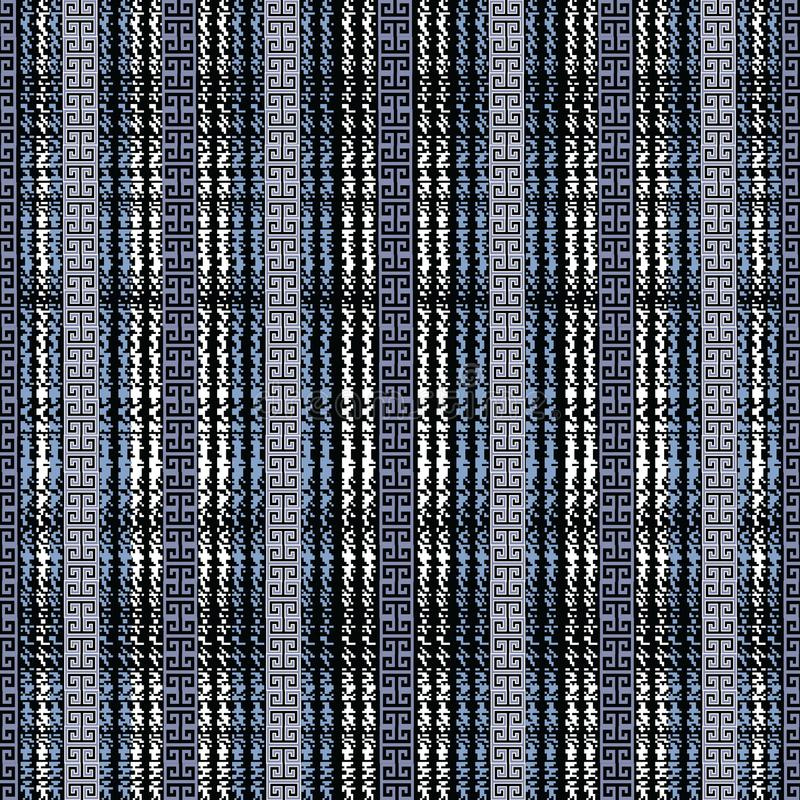 Grunge chalk greek seamless border pattern. Striped design. stock illustration