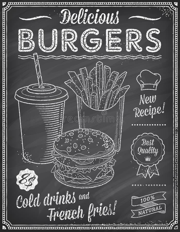 Grunge Chalkboard fasta food menu szablon 4 ilustracja wektor