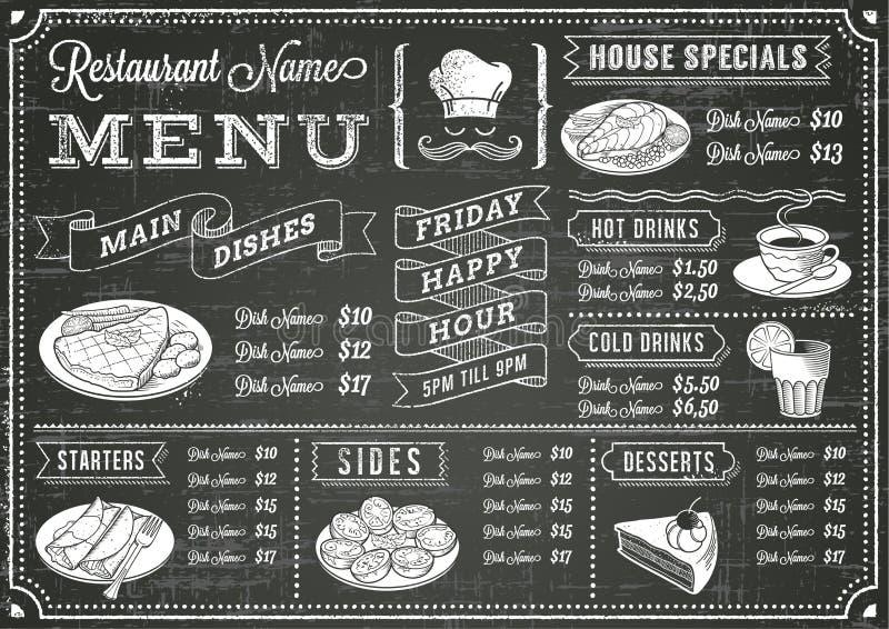 Grunge Chalkboard menu Restauracyjny szablon ilustracja wektor