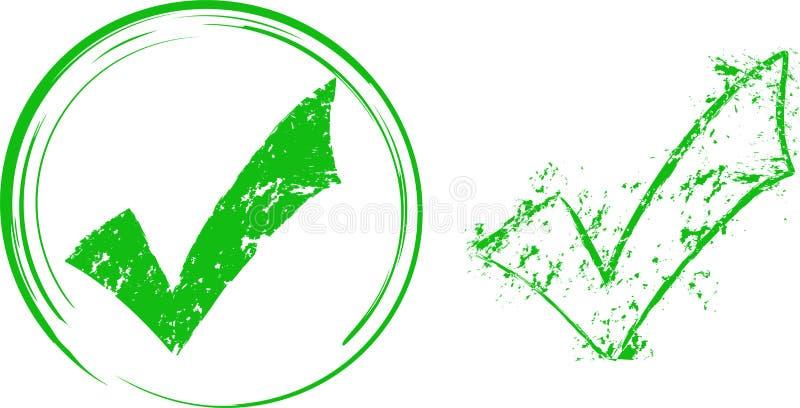 Grunge check mark. On a white background vector illustration
