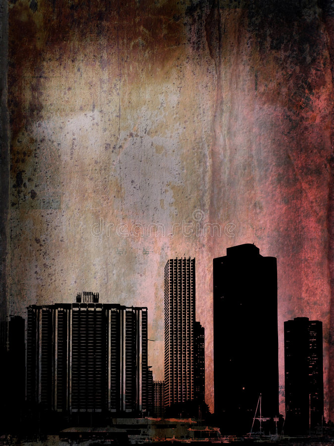 grunge chicago зданий бесплатная иллюстрация