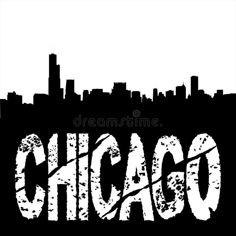 Grunge Chicago com skyline ilustração royalty free