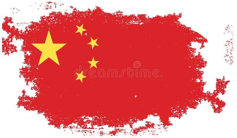 Grunge china flag vector illustration
