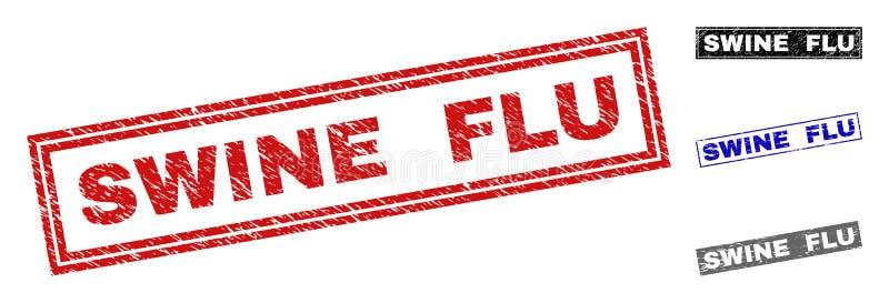 Grunge chlewni grypy prostokąta znaczka Textured foki ilustracja wektor