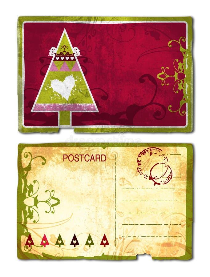 Grunge Christmas postcard stock illustration