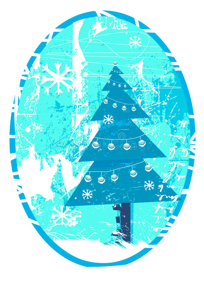 Grunge christmas tree vector illustration