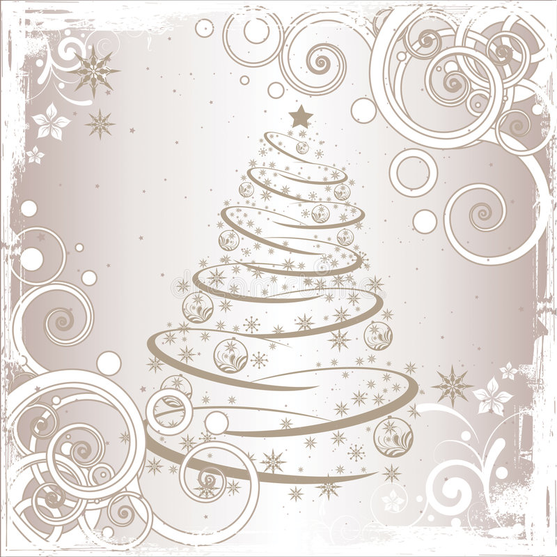 Grunge Christmas tree stock illustration
