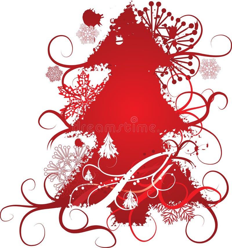 Grunge christmas tree background, vector illustration stock photo