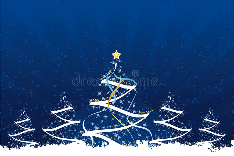 Grunge Christmas Trees Stock Images