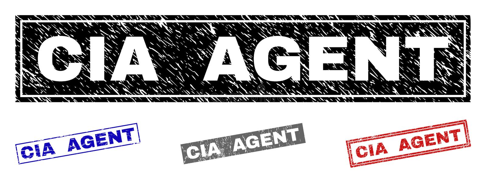 Grunge CIA AGENT Textured Rectangle Watermarks. Grunge CIA AGENT rectangle stamp seals isolated on a white background. Rectangular seals with grunge texture in royalty free illustration