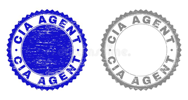 Grunge CIA AGENT Textured Stamp Seals. Grunge CIA AGENT stamp seals isolated on a white background. Rosette seals with distress texture in blue and grey colors royalty free illustration