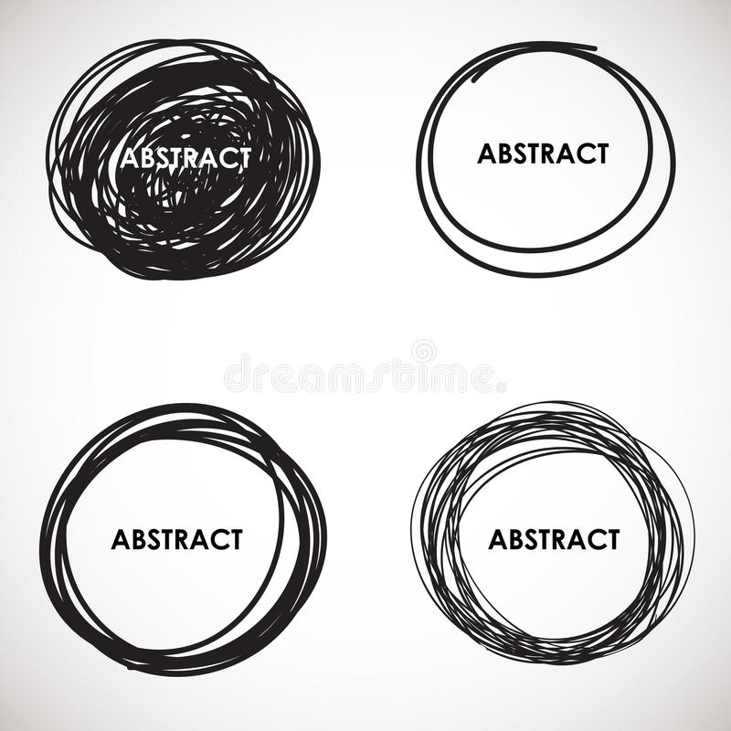 Grunge circle brush strokes set. Vector design. stock illustration