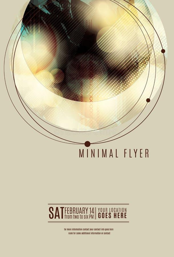 Grunge circle minimal flyer template. Minimal circle geometric flyer or poster template design stock illustration