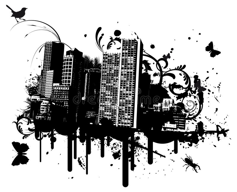 Grunge city. With animals vector illustration royalty free illustration