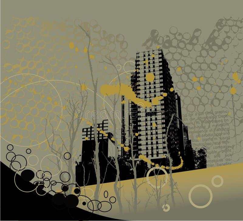 Grunge city background royalty free illustration
