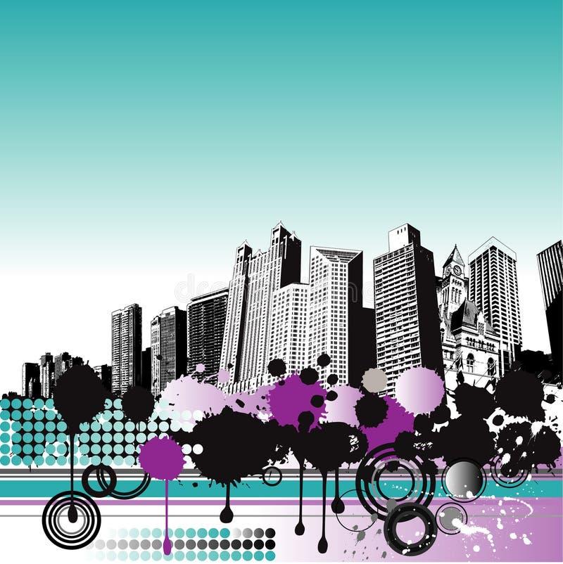Grunge City Background stock illustration