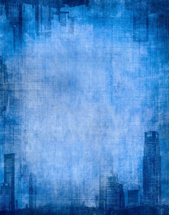 Grunge city blue stock illustration