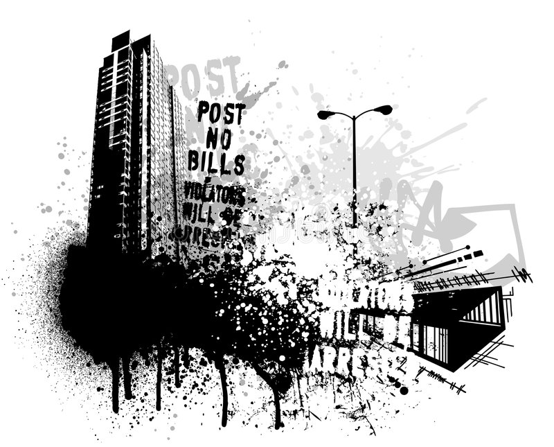 Grunge city design stock illustration
