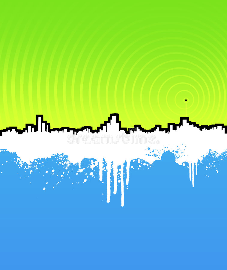 Grunge cityscape background with music antenna stock illustration