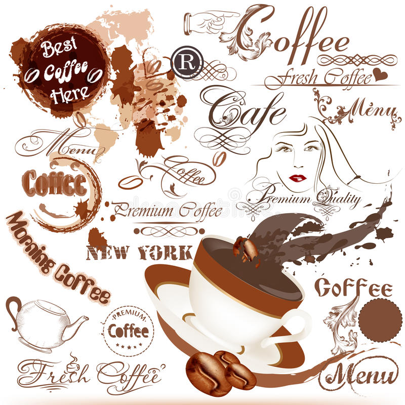 Grunge coffee labels, signatures and elements set royalty free illustration