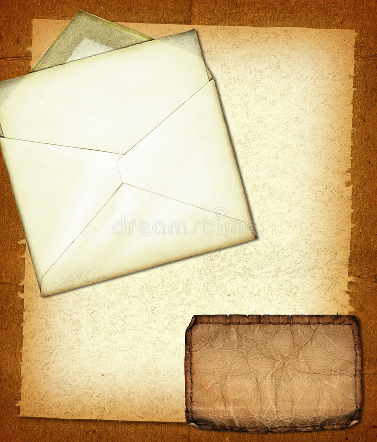 Grunge Collage. A vintage collage with a jeans tag, envelope and grunge paper royalty free stock photo