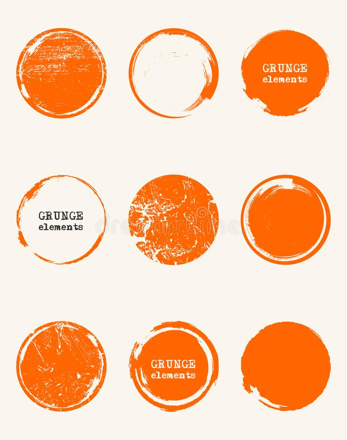 Free Grunge Color Circle Shapes Set. Abstract Vector Royalty Free Stock Photography - 173828727