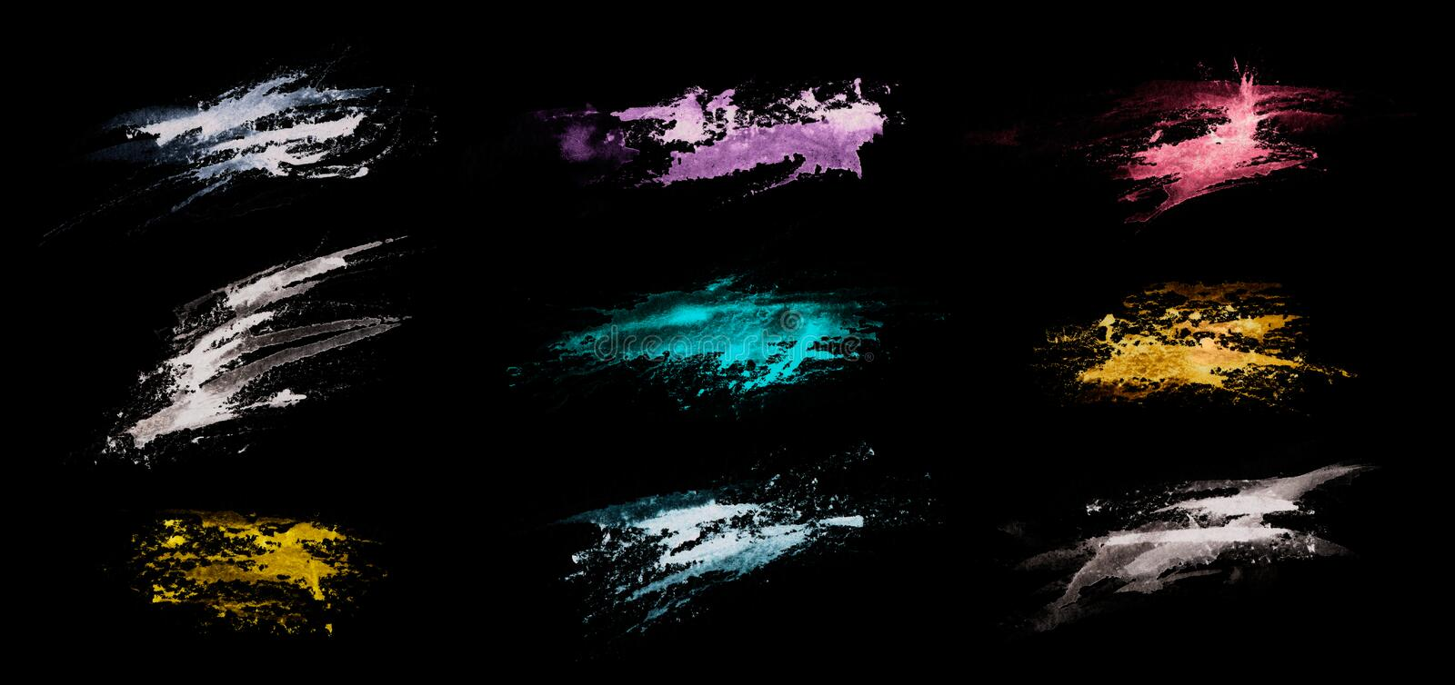 Grunge color splashes isolated on a black background. Texture shape for design. Abstract art drawing. Handwork.  stock illustration