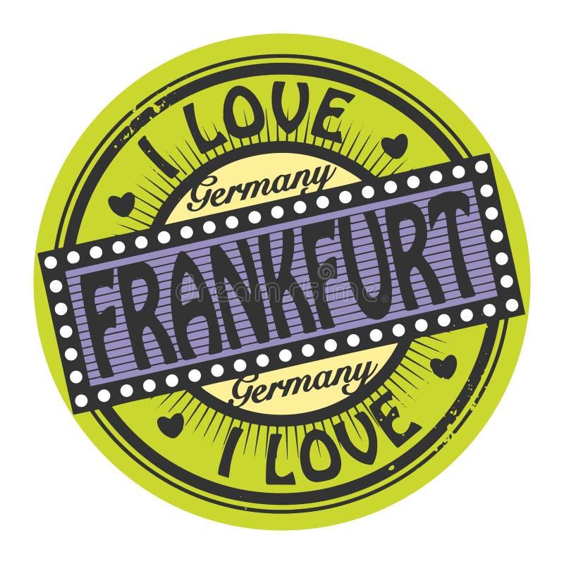 Grunge color stamp with text I Love Frankfurt inside. Vector illustration royalty free illustration