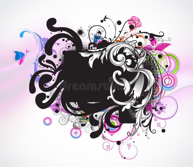 Download Grunge Colorful Floral Frame Stock Illustration - Illustration of circle, floral: 25049948