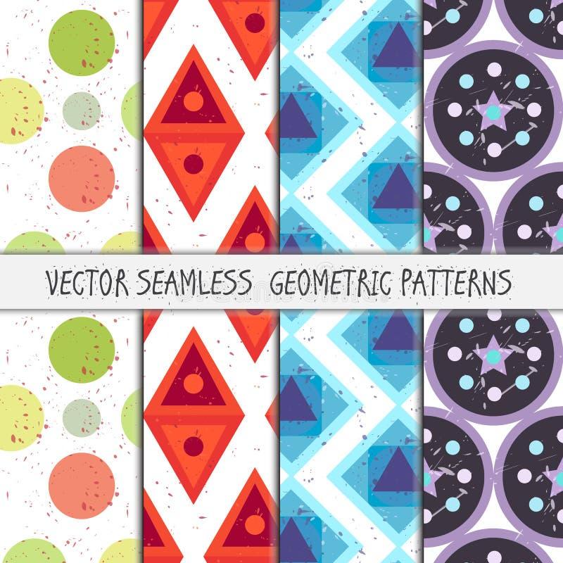 Grunge colorful geometric seamless patterns set stock illustration