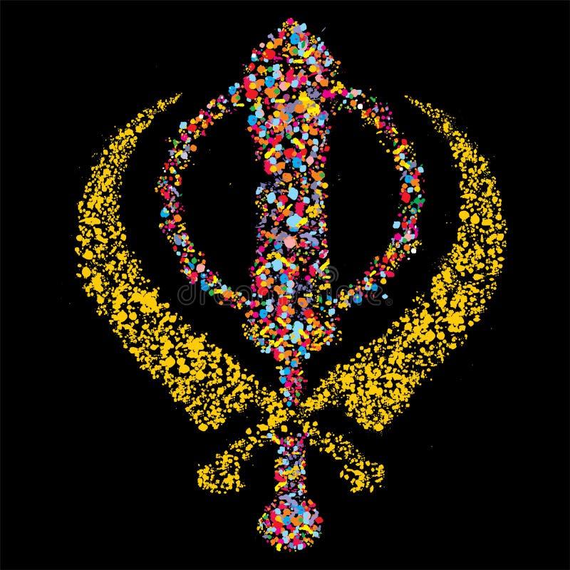 Grunge Colorful Khandasikh Religious Symbol Stock Illustration