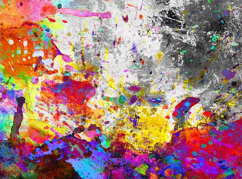 Grunge colorido del chapoteo de la pintura stock de ilustración