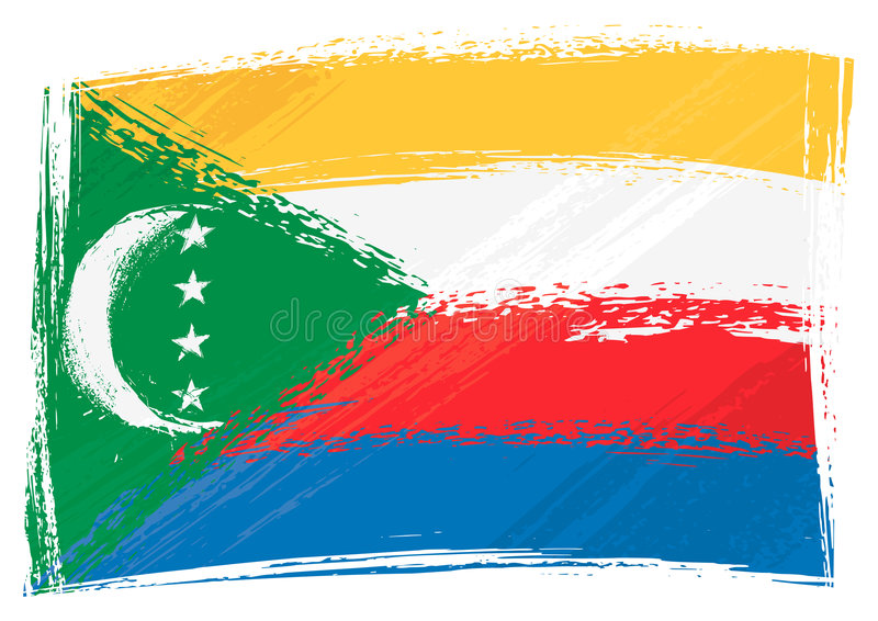 Grunge Comoros flag stock illustration