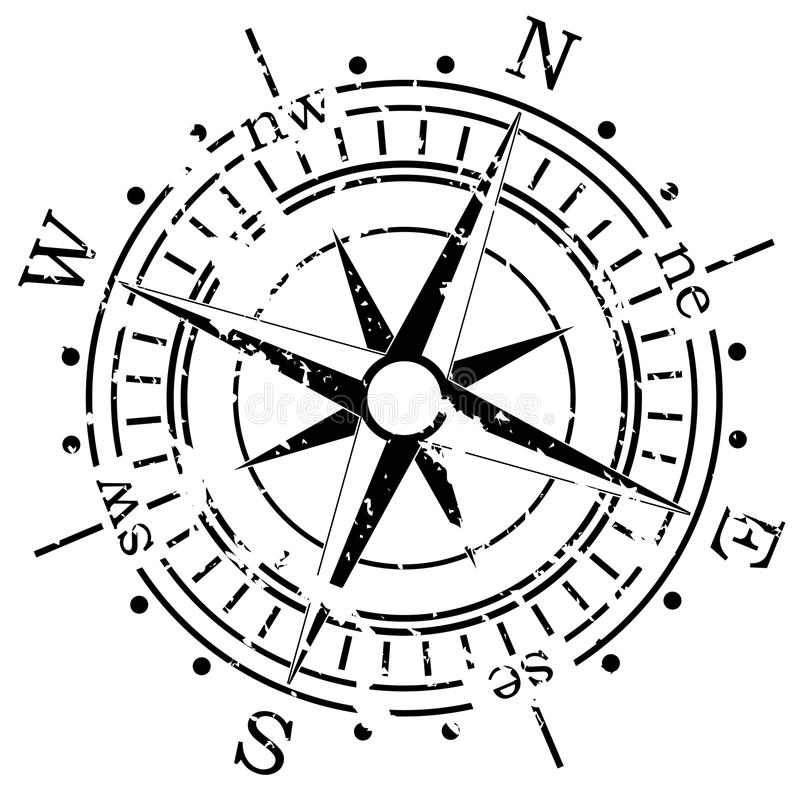 Grunge compass vector illustration