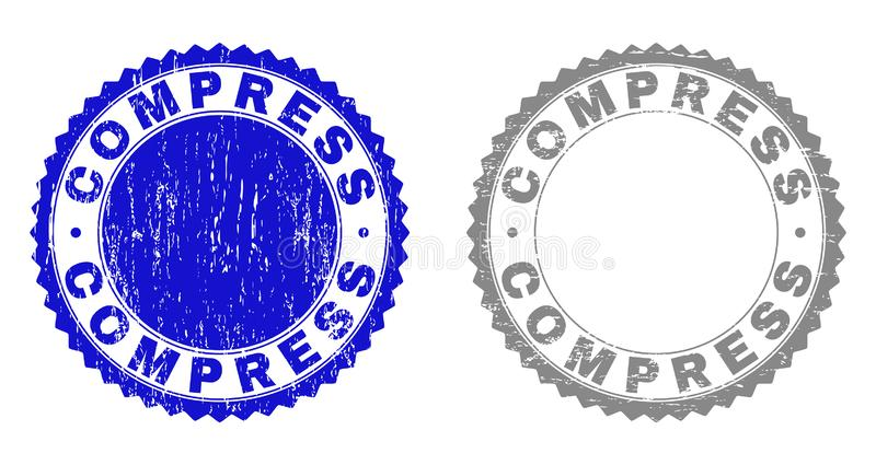Grunge COMPRESS Scratched Stamp Seals. Grunge COMPRESS stamp seals isolated on a white background. Rosette seals with grunge texture in blue and grey colors stock illustration