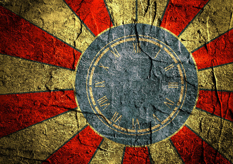 Grunge concrete sun rays backdrop with clock royalty free stock photo